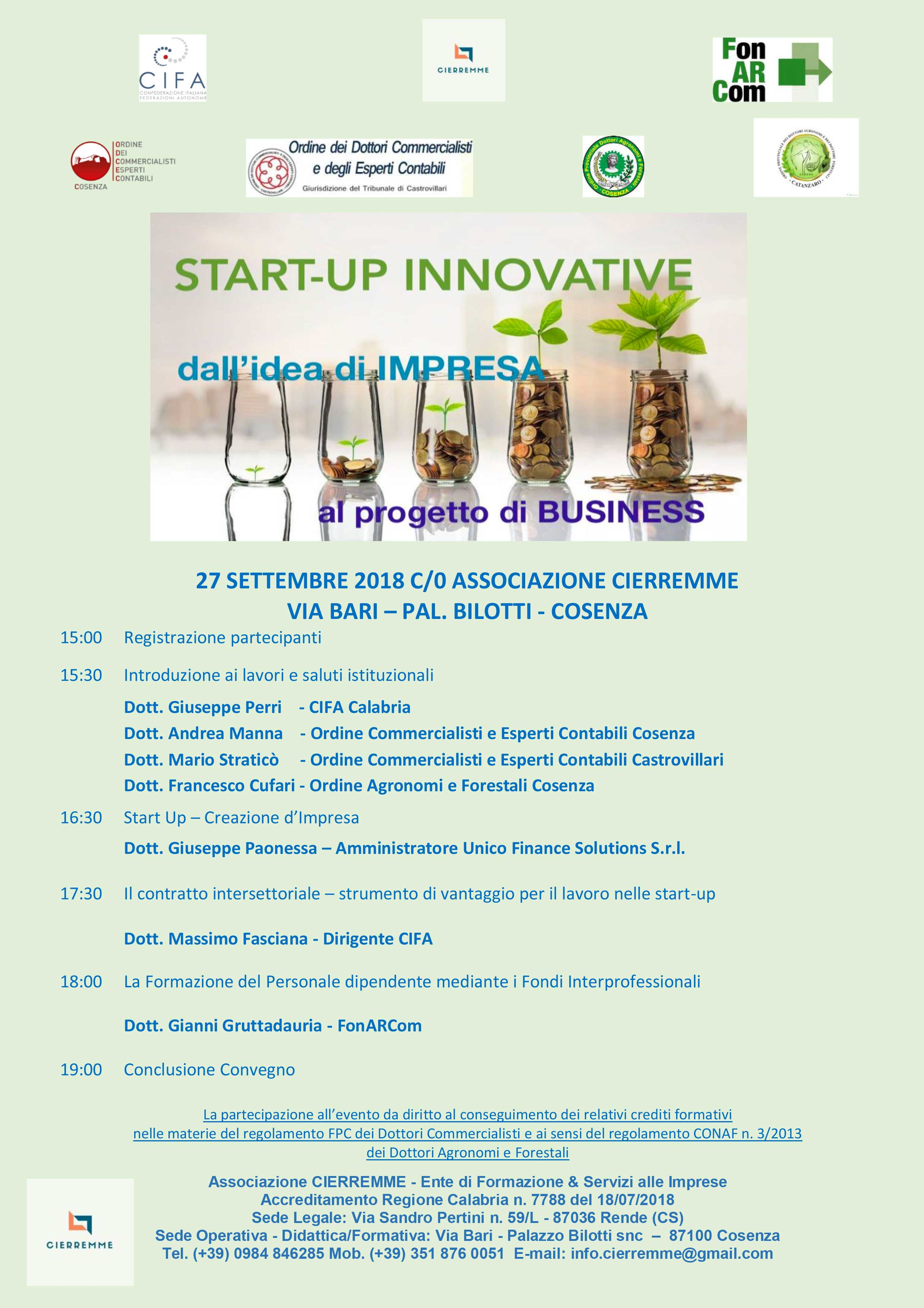 Start-up innovative: il programma del seminario a Cosenza.