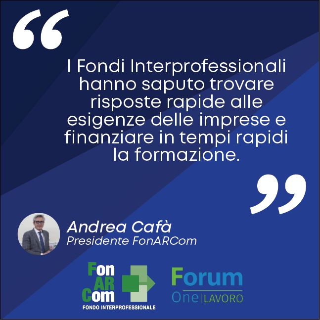 Cafà al Forum One sui Fondi Interprofessionali
